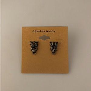 Chloe + Isabel Owl Stud Earrings Blue Crystal Eyes
